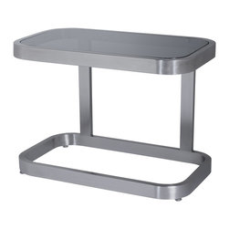 Allan Copley Designs - Allan Copley Designs James 28x16 Rectangular End Table w/ Smoked Grey Glass Top - The James Collection by Allan Copley Designs makes a contemporary statement in any room's decor. With its brushed stainless steel frame and Smoked Grey glass, the James Collection exudes a confidence and style. Ample surface areas provide plenty of space for entertaining or displaying those family favorites. The James Collection includes Rectangular Cocktail, Square End and Console Table. What's included: Table Top (1), Table Base (1).
