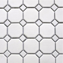 Potere - Octagons White Dot Tile - Potere Tile's Octagon Dot series is one of the most affordable octagon dot mosaic series without sacrificing even a modicum of quality. These beautiful matte ceramic octagons are graced with perfect gloss square dots in pink, blue, green, gray or black. The octagon dot mosaic is a classic for kitchens and bathrooms.