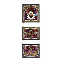 Meyda - 14 Inch W x 39 Inch H Solstice 3-Piece Windows - Color theme: Pbnawg beige purple 59