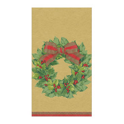 "Frontgate - Caspari Holly Wreath Guest Towel - Traditional holly wreath design. Ideal as guest towels or buffet napkins. Look of cloth yet disposable for easy clean-up. Each set contains 30 towels. Environmentally friendly biodegradable materials. Put guests in the holiday spirit with disposable towels by Karen Klugein printed in a beloved Christmas classic - the holly wreath. The wreath is topped with a gold and red bow with holly berries sprinkled throughout the printed design.  crafted of biodegradable, triple-ply tissue that is both ultra-absorbent and environmentally friendly. They have the look of cloth, yet can be tossed in the trash for quick and easy clean-up. Ideal for the buffet table or bath.  .  .  .  .  . Crafted of soft and absorbent triple-ply tissue . FSC certified pulp and water based dye materials . Measures 13"" x 16"" open . Imported"