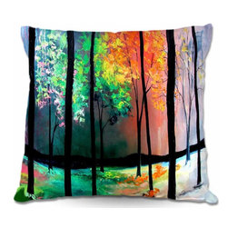 DiaNoche Designs - Pillow Linen - The Four Seasons - DiaNoche Designs works with artists from around the world to create astouding and unique home decor products.  Add a little texture and style to your decor with our Woven Linen throw pillows.  The material has a smooth boxy weave.  Each pillow is machine loomed, then printed and sewn ALL IN THE USA!!!  100% smooth poly with cushy supportive pillow insert with a hidden zip closure. Dye Sublimation printing adheres the ink to the material for long life and durability. Double Sided Print, machine wash upon arrival for maximum softness. Product may vary slightly from image.