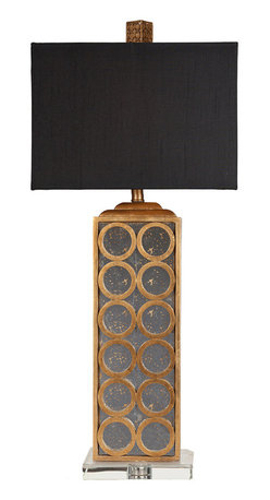 """Surya - Surya Geo Gold Leaf Table Lamp - The elegant Surya Geo table lamp captivates in transitional interiors. Topped by a rectangular black shade, this dramatic fixture's aged mirror sides are accented by gold leaf circles. 10.16""""W x 10.16""""D x 11""""H; Resin and aged mirror; Faux silk black shade; Clear acrylic base; Brown cord; Three-way metal turn knob; Accepts one 100W max bulb (not included)"""