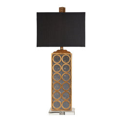"Surya - Surya Geo Gold Leaf Table Lamp - The elegant Surya Geo table lamp captivates in transitional interiors. Topped by a rectangular black shade, this dramatic fixture's aged mirror sides are accented by gold leaf circles. 10.16""W x 10.16""D x 11""H; Resin and aged mirror; Faux silk black shade; Clear acrylic base; Brown cord; Three-way metal turn knob; Accepts one 100W max bulb (not included)"