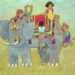 "Eli Elephant, 26""w X 24""h X 1.5'd on Canvas - Eli Elephant is a large and colorful character. Eli belongs to a series of 3 happy characters including, Theodore Tiger and Zoe Zebra. Each are available in 3 sizes; A fine quality art print on canvas, 26""w x 24""h with a 1.5"" gallery wrap, a fine quality art print on canvas, 34""w x 32""h with a 1.5"" gallery wrap and a fine quality art print on watercolor paper, 19"" x 17"" with a 1.25"" maple frame and 2.5"" linen look mat."