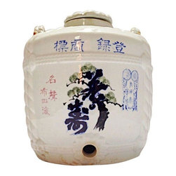 Pre-owned Pre War Saki Jug Meiji Period - Kanpai! This is an authentic pre-war Japan saki jug. It would have been used to transport saki from the company to private customers and restaurants in the 19th and early 20th century.