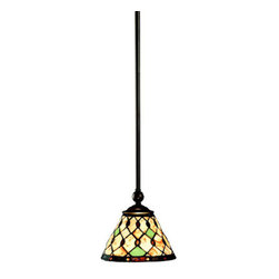 Kichler - Kichler 65266 Woodbury Single-Bulb Indoor Pendant with Cone-Shaped Glass Shade - Product Features: