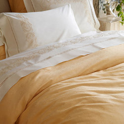"""Frontgate - SFERRA Sarto Duvet Cover - 100% Egyptian cotton sateen jacquard. Detailed hemstitching finishes the generous flanged hems. Machine wash in warm water, gentle cycle; wash dark colors separately. Tumble dry on low heat; iron on """"cotton"""" setting if needed. The height of simple sophistication, the SFERRA Sarto Bedding Collection uses centuries-old weaving techniques to render the jacquard remarkably smooth and supple. Rosette medallions are intricately woven in the finest yarns, revealing a subtle luster that will burnish any bedroom with a luminous sheen.  .  .  . Tumble dry on low heat; iron on """"cotton' setting if needed . Made in Italy."""