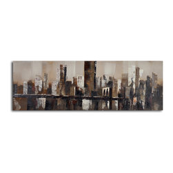 Chocolate city skyline Hand Painted Canvas Art - Add a moody cityscape to your art collection for a touch of urban romance. This hand-painted canvas is perfect for your living room or home office. Its muted-color palette offers a rich spectrum of neutrals to complement your modern aesthetic.