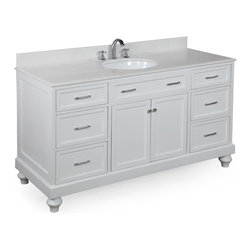 Kitchen Bath Collection - Amelia 60-in Single Sink Bath Vanity (White/White) - This bathroom vanity set by Kitchen Bath Collection includes a white cabinet, soft close drawers, self-closing door hinges, white marble countertop with stunning beveled edges, single undermount ceramic sink, pop-up drain, and P-trap. Order now and we will include the pictured three-hole faucet and a matching backsplash as a free gift! All vanities come fully assembled by the manufacturer, with countertop & sink pre-installed.