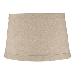 """Lamps Plus - Contemporary Springcrest™ Natural Linen Drum Shade 10x12x8 (Spider) - Add a chic casual element to your home decor with this natural linen and polyester blend drum shade. The design features self trim on the top and bottom and a taupe polyester liner. The correct size harp is included free with this shade. Natural linen and polyester blend. Taupe polyester liner. Hardback drum shade. Self trim on top and bottom. Chrome spider. 10"""" across the top. 12"""" across the bottom. 8"""" high.  Natural linen and polyester blend.   Taupe polyester liner.   Hardback drum shade.   Self trim on top and bottom.   10"""" across the top.   12"""" across the bottom.   8"""" high.  Chrome spider."""