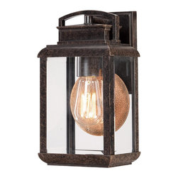 Quoizel - Quoizel BRN8406IB Byron Outdoor Wall Fixture - This fixture gives the exterior of your home both beauty and an exclusive sense of style.  It features a vintage bulb for a historic look and is enhanced by the copperhued plate directly behind it.  The clear beveled glass and the Imperial Bronze finish complete the look.