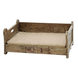 Benzara - Vintage Pet Bed With Bone Shaped Wood - For everyone who's ever wanted to see their pet enjoy themselves as much as they do, this pet bed makes the pup feel right at home between the dog bone shaped frame. Great as a napping spot next to the couch or at the foot of the bed. And its super strong build can make it a great outdoor bed too.