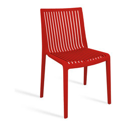 PAPATYA - PAPATYA COOL CHAIR, Set of 4, Red - Stackable chair produced with a technology of injection moulding in glassfibre reinforced polypropylene. Ergonomic shape fits in any environment. Thanks to special materials used it is a perfect choice for outdoors. Anti UV stabilised. Priced as Set of 4.