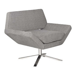 Nuevo - Sly Lounge Chair in Grey Mona - High-polish stainless steel base. 360 degree swivel base. Hardwood frame construction. CFS foam and fabric finish. 70% cotton, 30% nylon. Seat Depth: 21 in.. Seat Height: 19 in.. 35 in. W x 27 in. D x 31 in. H (38 lbs.)
