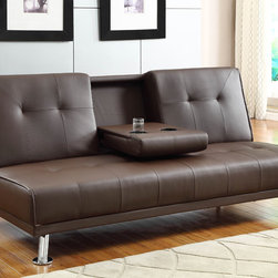 Homelegance - Homelegance Profile Elegant Lounger in Brown Bi-Cast Vinyl - Chrome legs support the base and sofa of the click mechanism Profile Collection. Offered in brown bi-cast vinyl with contemporary line stitching.