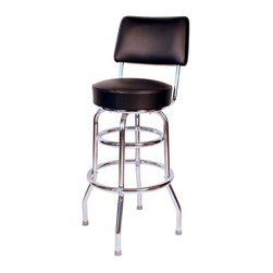 "Richardson Seating - Richardson Seating Retro 1950s 30"" Swivel Bar Stool with Black Seat - Richardson Seating - Bar Stools - 1958BLK - Richardson Seating Floridian's Floridian collection ships within 2 business days as quick ship items. The 50's retro look bar stool collection is back with added comfort and stylish design. The Floridian collection are commercial bar stools made in the USA and equally ideal for residential use."