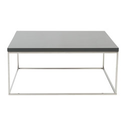 Euro Style - Teresa Square Coffee Table - Gray Lacquer/Polished Stainless Steel - There's plain and there's perfect.  This collection of 4 Teresa table designs are not only perfectly designed for strength and timeless style, they work beautifully together.  Go for the group!