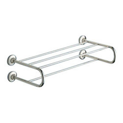Gedy - Polished Chrome Towel Shelf With Towel Bar - Modern style wall curved bath towel shelf with bar.