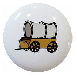 Carolina Hardware and Decor, LLC - Covered Wagon Ceramic Knob - New 1 1/2 inch ceramic cabinet, drawer, or furniture knob with mounting hardware included. Also works great in a bathroom or on bi-fold closet doors (may require longer screws).  Item can be wiped clean with a soft damp cloth.  Great addition and nice finishing touch to any room.