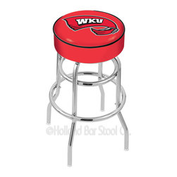 "Holland Bar Stool - Holland Bar Stool L7C1 - 4 Inch Western Kentucky Cushion Seat - L7C1 - 4 Inch Western Kentucky Cushion Seat w/ Double-Ring Chrome Base Swivel Bar Stool belongs to College Collection by Holland Bar Stool Made for the ultimate sports fan, impress your buddies with this knockout from Holland Bar Stool. This L7C1 retro style logo stool has a 4"" cushion with a tough double-ring base and a chrome finish. Holland Bar Stool uses a detailed screen print process that applies specially formulated epoxy-vinyl ink in numerous stages to produce a sharp, crisp, clear image of your desired logo. You can't find a higher quality logo stool on the market. The structure is triple chrome-plated to ensure a rich, polished finish that will last ages. If you're going to finish your bar or game room, do it right- with a Holland Bar Stool. Barstool (1)"