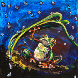 Umbrella - Fun Frogs - Originl / Print / Giclee wall Art - Lovejoy Creations - Artwork -  is available in multiple sizes, finishes, and styles.  Please visit my store to acquire your version.