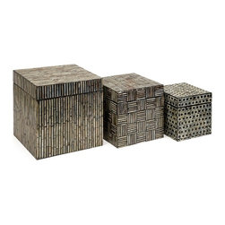"IMAX CORPORATION - Jacobs Mother of Pearl Boxes - Set of 3 - Mosaic inlaid Mother of Pearl adorns this set of three Neal boxes with dramatic contrast. Set of 3 in various sizes measuring around 26""L x 13""W x 13""H each. Shop home furnishings, decor, and accessories from Posh Urban Furnishings. Beautiful, stylish furniture and decor that will brighten your home instantly. Shop modern, traditional, vintage, and world designs."