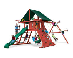Gorilla Playsets - Gorilla Playsets Sun Climber I Wood Swing Set with Canvas Green Canopy - 01-0024 - Shop for Swings Slides and Gyms from Hayneedle.com! A king or queen is nothing without a castle; and the Gorilla Playsets Sun Climber I Wood Swing Set with Canvas Green Canopy turns your little prince or princess into sun king or sun queen. Outdoor play is so critical for children because their growing bodies need sunlight and fresh air to properly process nutrients. This fabulous play set has loads of features that will keep them busy all day. But not to worry the attractive Canvas Green-colored Sunbrella fabric canopy will help protect them from harmful UV rays and give them a place to rest and refuel. Parents will also love the other safety features such as securely anchored easy-grip handles; safe-option ladder; rock wall safety rope; and overall stable square footing. Whether your child chooses to imagine this set as a castle a fort or even a ship the swings and numerous climbing features provide kinetic play opportunities that allow your child to flex their muscles both physically and mentally as they find different ways to explore and play with this set.Additional FeaturesTotal dimensions: 252W x 144L x 132H inchesPlatform dimensions: 6W x 4L x 5H feetIncludes flag kit safety handles hardware4 x 4 solid wood framing4 x 6 swing beamsNaturally resistant to rot decay and insect damageAbout Gorilla Playsets Since 1992 Gorilla Playsets has been designing and selling ready-to-assemble playsets. With a reputation for providing excellent customer service Gorilla Playsets conveniently provides customers with affordable playsets including quality wood components sturdy playset accessories all necessary hardware and clear instructions. Gorilla Playsets always keeps safety in mind while creating inventive durable products that provide children with myriad possibilities for fun and play.