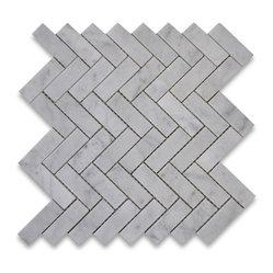 White Hexagon Backsplash Maple Cabinets