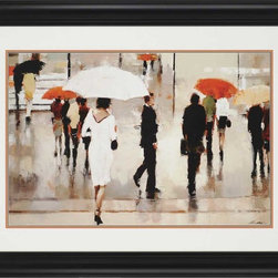"""Paragon Decor - My Complex Heart Artwork - Brighten up those boring walls with this colorful piece, """"My Complex Heart"""" which features a water color-style depiction of a woman in a white dress beneath a white umbrella walking into a crowd of people on a rainy street. This romantic piece is surrounded by a white matte and simple black frame. This piece measures 49 inches wide, 2 inches deep, and 37 inches high."""