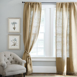 Ballard Designs - Fringed Burlap Panel - Burlap drapes are beautiful and let just enough light through the panels. This set in particular offers a fringed hem, an unexpected but elegant detail.