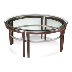 Bassett Mirror - Fusion Cocktail Table - Dark Cherry Finished Hardwood with Satin Nickel Plated Accents, 3/8 Clear Glass Top with Eurogee Edge. Measures: 39 in. W x 39 in. D x 18 in. H. Part of the Fusion Collection.
