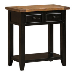 Hillsdale Furniture - Hillsdale Tuscan Retreat 2-Drawer Hall/Console Table in Black/Oxford - Tuscan Retreat TM accent pieces are authentic artisan interpretations of old world and cottage furniture. Each piece is crafted from new and restored timbers to give it the appearance of a century old treasure. The finished are hand prepared from the sanding and scrapping to the final steps. Featuring solid wood throughout and old world cabinet construction. Every detail is designed to bring you years of enjoyment.