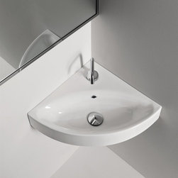 WS Bath Collections - Corner Bathroom Sink - Includes mounting hardware. Wall hung or counter top installation. One faucet hole. Designer high end premium quality. ADA compliant. Designed by Marc Sadler. Warranty: One year. Made from ceramic. White color. Made in Italy. 17.7 in. W x 17.7 in. D x 3.9 in. H (20 lbs.). Spec SheetKerasan by WS Bath Collections, designers high-end ceramic washbasins and sanitary ware with the greatest imaginable versatility in application. Models that adhere to the more current trends of design, harmony and elegance.