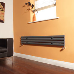 Milano - Milano Aruba Anthracite Narrow Horizontal Designer Radiator 236 x1600 - Create a sleek, minimal look with this high quality anthracite 236x1600mm horizontal designer radiator, which is ideal for making the best use of limited wall space. The impressive heat output will heat your room in no time at all.  Four horizontal bars   2,223 BTU's (652 Watts)   High quality anthracite powder coat finish (RAL7016)   236mm x 1600mm   15 year guarantee   ISO9001:2008 Registered Manufacturer