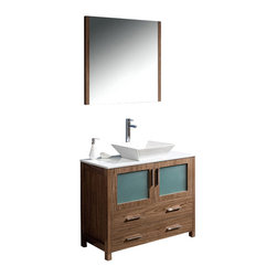 "Fresca - Fresca Torino Bathroom Vanity w/ Vessel Sink, Walnut, 36"", Single Sink - Fresca is pleased to usher in a new age of customization with the introduction of its Torino line. The frosted glass panels of the doors balance out the sleek and modern lines of Torino, making it fit perfectly in either 'Town' or 'Country' décor. Available in the rich finishes of Espresso, Glossy White, Walnut and Light Oak, all of the vanities in the Torino line come with either a ceramic vessel bowl or the option of a sleek modern ceramic integrated sink. This version is with the vessel bowl(s)."