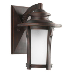 """Progress Lighting - Progress Lighting P5981-97 1-Light 9"""" Wall Lantern with Etched Seeded Glass - Progress Lighting P5981-97 1-Light 9"""" Wall Lantern with Etched Seeded Glass Cylinder"""