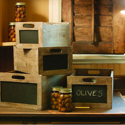 Rustic Wood Chalkboard Wine Crate - These old wine crates with chalkboard fronts would be ideal to keep files or stacks of paper. I love that you can label and stack them in different ways to create interest.