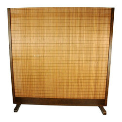 Oriental Unlimted - 6.25 ft. Tall Take Room Divider in Walnut Fin - Ideal for use as a room divider at home or in the office. Stands on its own. Diffuses light, does not provide complete privacy. Hand-woven of tobacco with bamboo slats. Frame is finished in a rich walnut color. Assembly required. 75 in. W x 76 in. H. Legs: 18 in. W. Not Fire Rated or Tested