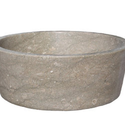 "TashMart - Tapered Natural Stone Vessel Sink, Sea Grass Marble - The Tapered Vessel Sink can be used as a semi-recessed or above the counter vessel sink.  This sink is made from one solid piece of natural stone.  The sink measures 16"" at the rim, then tapers down slightly towards the base.  This natural stone sink is available in limestone, light travertine, sea grass marble and beige marble."