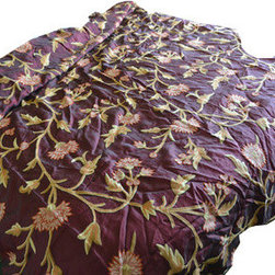 Crewel Fabric World - Crewel Bedding Wintertime Vermilion Silk Queen Quilt - Artisans in a remote mountain village in Kashmir crewel stitch these blossoms, vines and leaves by hand, resulting in a lush pattern of richly shaded wool yarns on Linen, Cotton, Velvet and Silk.