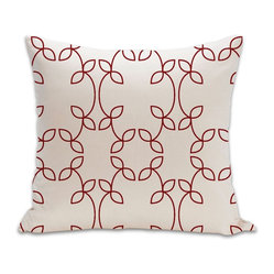 Vine Organic Cotton Fabric 18 x 18 Pillow in Cayenne/Natural