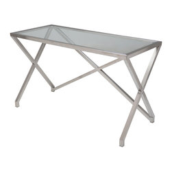 "Nuevo Living - Jordan Desk - 1/2"" clear tempered glass top"