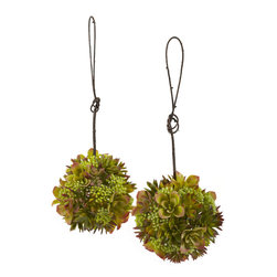 Nearly Natural - 7in. Mixed Succulent Hanging Spheres (Set of 2) - Two is always better than one. So with that in mind, we've doubled the beauty with these mixed succulent spheres. These small 'explosions of color' are just the right size for hanging anywhere. The interesting succulent blooms combine with faux berries making for a unique look that appears different on every viewing. And because they'll stay beautiful forever, they make a great gift for that hard to buy for person.
