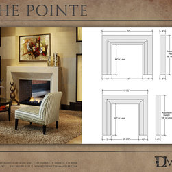 The Pointe Modern Stone Fireplace Mantel - The Pointe stone mantel has a rectilinear & angular design, which gives the minimal design its visual appeal. Designed by Eric Walden @ Distinctive Mantel Designs, Inc.