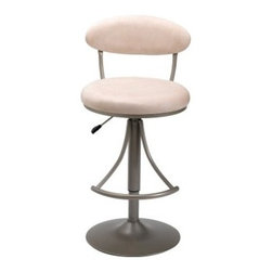 Hillsdale Venus Adjustable Height Swivel Bar Stool - Fawn Suede Seat - Belly up to your home bar kitchen island or counter with the Hillsdale Adjustable Venus Swivel Bar Stool - Fawn Suede Seat. Constructed with a durable metal base and round stand finished in Champagne this contemporary bar stool has a comfortable padded seat and backrest covered in plush durable fawn-colored suede. The stool swivels around to offer you ease of movement and minimize scuff marks on your floor while the rounded foot rest provides added comfort and support. The airlift handle on the side of the bar stool allows you to easily adjust the seat height from 24 inches to 30 inches and goes from counter to bar height for versatile use. Place this stool at your home bar beside a kitchen counter or with a pub table for a fresh modern look. Please note: This item is not intended for commercial use. Warranty applies to residential use only. About Hillsdale FurnitureLocated in Louisville Ky. Hillsdale Furniture is a leader in top-quality affordable bedroom furniture. Since 1994 Hillsdale has combined the talents of nationally recognized designers and globally accredited factories to bring you furniture styling and design from around the globe. Hillsdale combines the best in finishes materials and designs to bring both beauty and value with every piece. The combination of top-quality metal wood stone and leather has given Hillsdale the reputation for leading-edge styling and concepts.