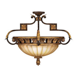 Fine Art Lamps - Castile Semi-Flush Mount, 234645ST - Crown your ceiling with this palace-worthy semi-flush fixture. Distinctive touches — fleuron medallions, acanthus leaf details, gleaming antiqued finish — highlight the scalloped, gold-dusted glass coupe.