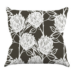 """Kess InHouse - Gill Eggleston """"Protea Graphite White"""" Brown Flowers Throw Pillow (18"""" x 18"""") - Rest among the art you love. Transform your hang out room into a hip gallery, that's also comfortable. With this pillow you can create an environment that reflects your unique style. It's amazing what a throw pillow can do to complete a room. (Kess InHouse is not responsible for pillow fighting that may occur as the result of creative stimulation)."""