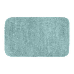 None - Plush Deluxe Caribbean Blue 30x50 Bath Rug - Relish the luxurious softness of the Plush Deluxe bathroom collection. The aqua blue bath rug is composed of an easy to clean nylon with the added safety of non-skid backing.