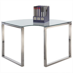 Chintaly Imports - Corner Computer Desk - Modern glass and steel office rounded corner desk, Ideal choice for home office, Stylish and attention-grabbing, Can be use in the whole set with the large and samll desk or mix up with just one of those two. Top clear glass is tempered, Legs are shiny po