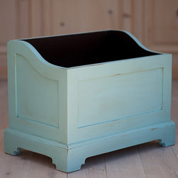 """Bradshaw Kirchofer - Bradshaw Kirchofer Jacks Storage Box - Master craftsmen of bench-made furniture, Bradshaw Kirchofer creates cottage-style pieces that evoke rich tradition and character. Jack's storage toy box lends beautiful storage in a nursery or child's bedroom with an arched and beveled frame. This solid hardwood piece offers a choice of custom paint or stain colors and distressing finishes. Handmade in the USA. Due to their custom nature, Bradshaw Kirchofer items are considered a final sale. 28""""W x 19""""D x 24 H. Additional custom options available, contact shop@laylagrayce.com for details."""